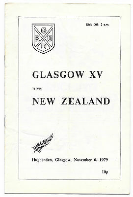 1979 - Glasgow v New Zealand, Touring Match Programme.