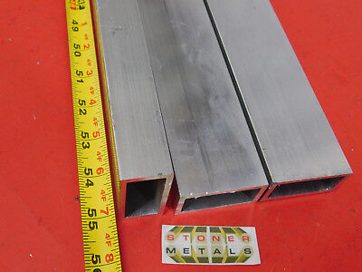 "3 Pieces 1""x 2""x 1/8"" Wall ALUMINUM RECTANGLE TUBE 6063 T52 x 55"" Long 1.0""x 2.0"