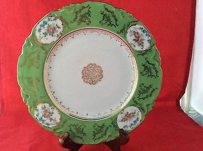 Antique Lewis Strauss & Sons Salad Plate, Green, Floral, Gold, Carlsbad Austria