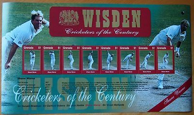 Wisden Cricketers Of The Century Mint Stamp Sheet Postal Tribute - Shane Warne