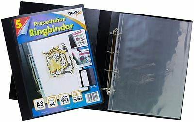 A3 Deluxe Portrait 4-D Ring Binder Folder File Art Black Presentation Portfolio