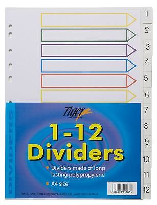 1-12 Numbered Strong Filing Subject Dividers Tabbed Ringbinder Folder Index