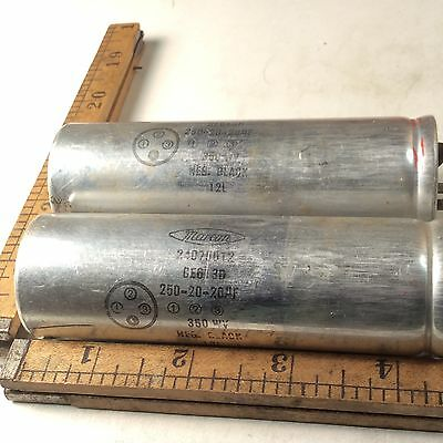 lot of two Marcon 250-20-20 Mf 350 Volt Multi-Section Electrolytic Capacitor