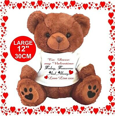 """Personalised Teddy Bear Brown 25Cm/10"""" Sitting  Today & Always Valentines Day"""