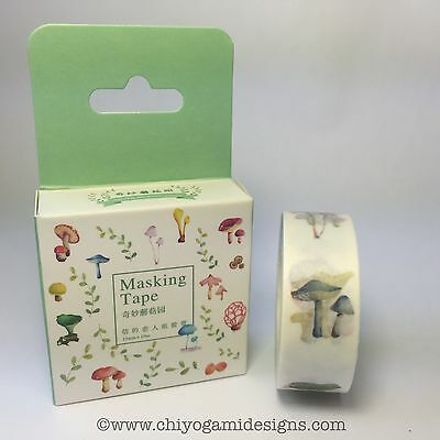 Washi Tape Miss Time Boxed Mushrooms 15Mm Wide X 10Mtr Roll Scrap Craft Wrap