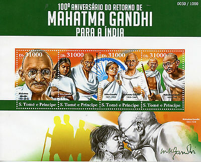 Sao Tome & Principe 2015 MNH Mahatma Gandhi Return to India 100th Anniv 4v M/S
