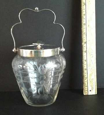Antique English Cut & faceted Glass Biscuit Barrel/Cookie Jar.Great wedding gift