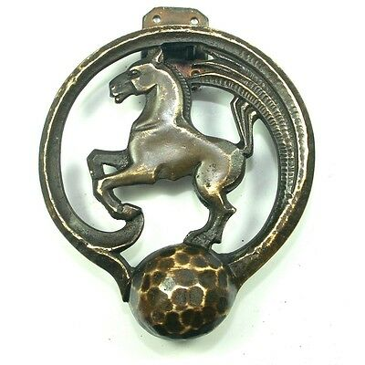 ART DECO HORSE DOOR KNOCKER Equestrian Bronco Ranch Whip Brass Antique Vtg