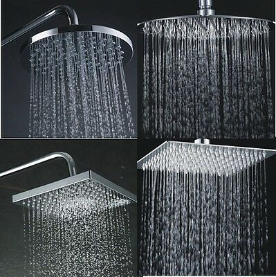 "Large 8"" Round Square Chrome Stainless Steel Water Rainfall Overhead Shower Head"