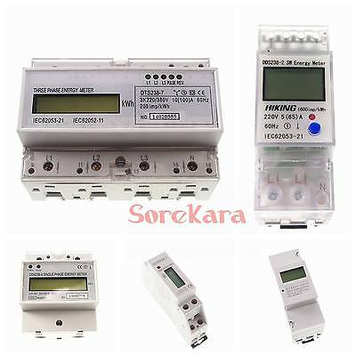 110V 220V 50/60hz Single/Three Phase DIN-rail Kilowatt LED Hour kwh Meter