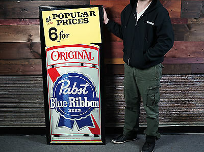 Original Vintage 1950's Pabst Blue Ribbon Tin Beer Sign -NOS- PBR- WOW!!