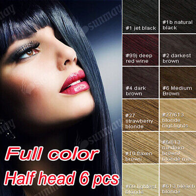 Full Head 100% Remy Real Human Hair Extensions Clip in Hair Extensions