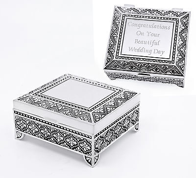 Personalised Antique Design Silver Plated Trinket Jewellery Box Engraved Gift