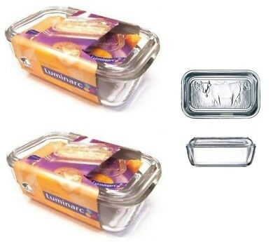 2 x Luminarc Embossed Cow Large Glass Butter Cheese Dish With Lid 17cm x 10.5cm