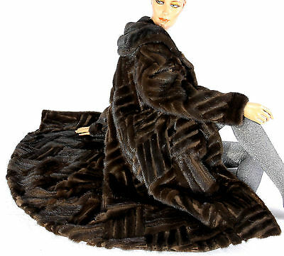 Rare Vintage Nerzmantel gestreift striped mink fur coat Swinger Look Pelzmantel