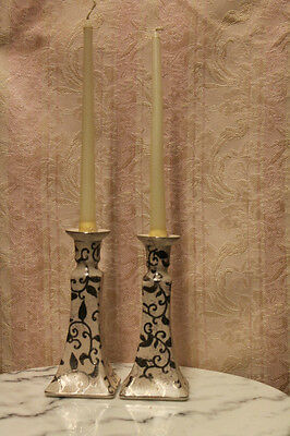 Pair of Porcelain Candle Holders