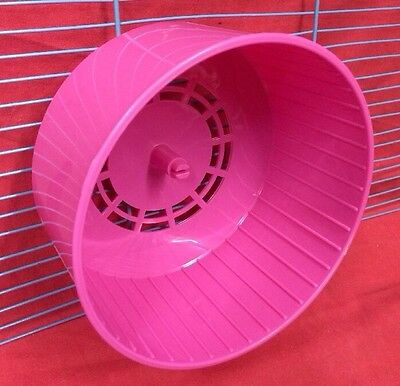 Hamster Wheel Silent Clip On PINK Dwarf Hamster Mice Gerbil 6inch Silent Plastic