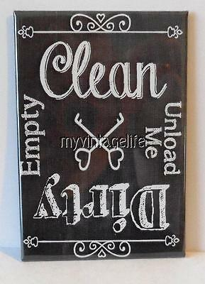 """Clean Dirty Dish washer Vintage Chalkboard Country 2"""" x 3"""" Fridge Magnet Chalk"""