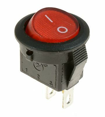 5 x Mini Red 15mm On/Off Round Rocker Switch SPST
