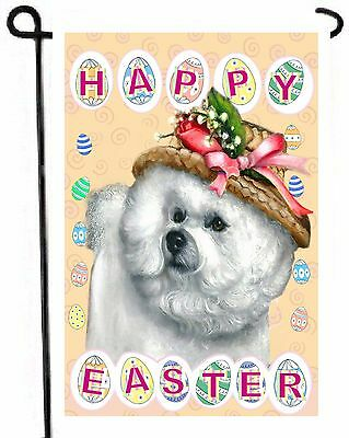 BICHON FRISE painting Easter GARDEN FLAG Dog puppy ART