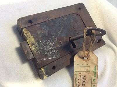 Antique Lock With Skeleton Key Primitive Working Condition