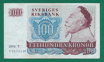 """Sweden, 100 Kronor 1970 (Y 253214*) P-54a VF """"Replacement"""""""