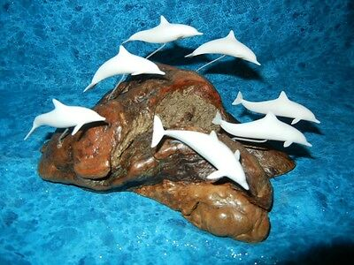 Beautiful Elegant White Dolphin Pod Family Sculpture - Signed Perry Statue