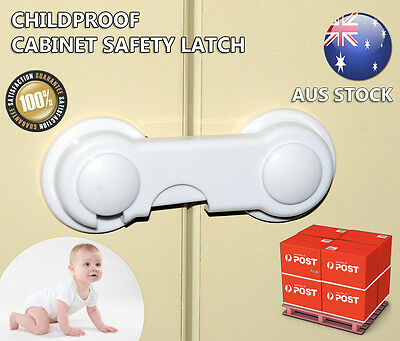 Cabinet Latch Child Baby Proof Adhesive Safety Draw Lock Pack of 2