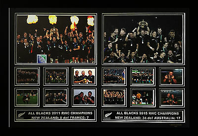 All Blacks 2011 & 2015 Rwc Winners Limited Edition Framed Memorabilia