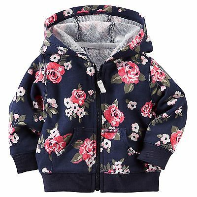 carter's blue floral cotton french terry baby girl zip up hooded jacket cardigan