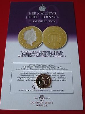 2004 Golden Jubilee Gold and Platinum 1p 1 Pence Coin COA