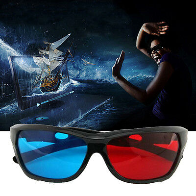 5x Black Frame Red Blue 3D Glasses For Dimensional Anaglyph Movie Game DVD CIT