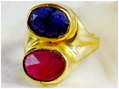 Classic Raw Faceted Deep Blue Sapphire Pink Ruby Gems stone Gold Plated Ring