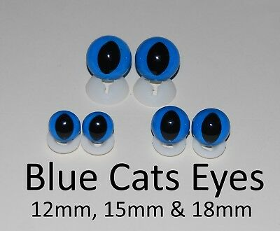 BLUE CATS EYES PLASTIC BACKS - Teddy Bear Making Soft Toy Doll Animal Craft