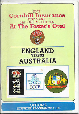 1989 - England v Australia, 6th Test Match Programme & Tickets.