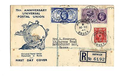 10/10/1949 UK GB FDC - Universal Postal Union -Monument at Berne -Harwich CDS #4