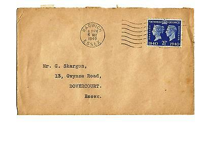 6/5/1940 UK GB FDC - Postage Stamp Centenary - Plain Cover - Harwich Slogan #1