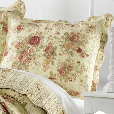 Beautiful Vintage Chic Antique Rose Yellow Red Green Gold Pink Cotton Quilt Set