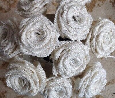 7 x Hessian Roses Ivory Stemmed Handmade Bouquets Weddings
