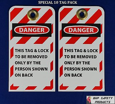 "Lockout Tags  ( Special 10 Pack ) W/3/8"" Brass Grommet Safety Lockout Tagout Tag"
