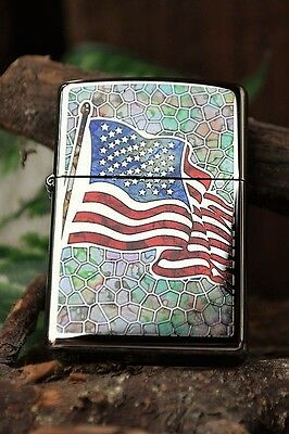 Zippo Lighter - Fusion U.S. Flag - Stained Glass - Old Glory - American # 44488