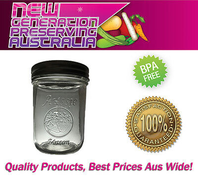12 x Aussie Mason LOGO Wide Mouth Pint Preserving Jars/bottles and Lids,  Ball