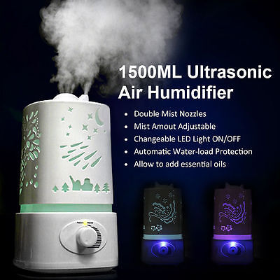 1.5L Ultrasonic Home Aroma Humidifier Air Diffuser Purifier Lonizer Atomizer E#