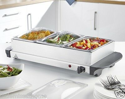 3 Non Stick Trays W Lid Buffet Server * Hot Plate Keeps Food Warm Party Dinner