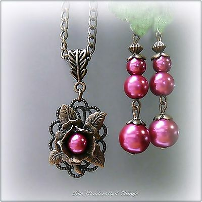 Necklace and earrings set, Deep Rose Pink pearl bronzed flower, Vintage Style