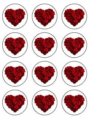 """12 x Valentines Day Rose Heart   2""""  PRE-CUT PREMIUM RICE PAPER Cupcake Toppers"""