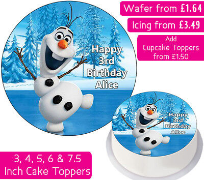 Frozen Olaf Edible Wafer & Icing Personalised Cake Toppers Decoration Birthday