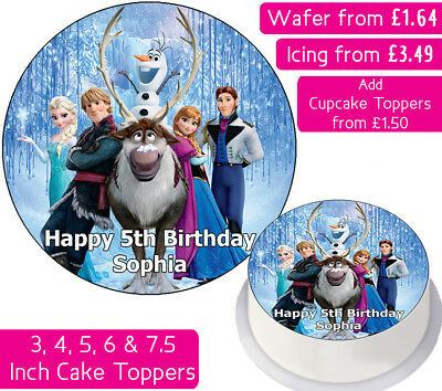 Frozen Team Edible Wafer & Icing Personalised Cake Toppers Birthday Elsa Anna