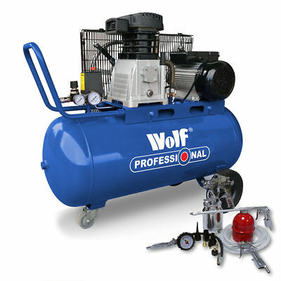 Wolf Air Compressor 240v 90L Belt Drive 3HP 14CFM 150psi Twin Cylinder Air Tool