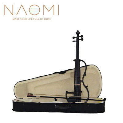 NAOMI VIOLIN 4/4 Electric Violin Full Size Silent Violin Bow +Case Black Violin